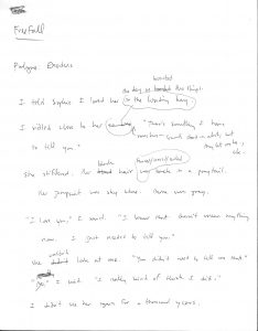 Freefall page one handwritten