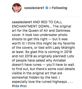 Cassie Clare, Queen of Air and Darkness News