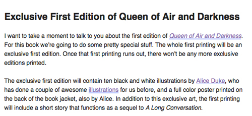Queen of Air and Darkness Exclusives in First Print